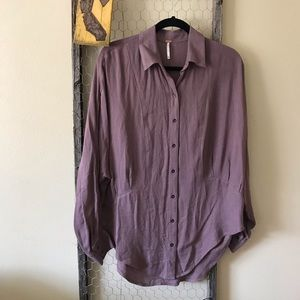 Free People Mauve Button Down Tunic Top
